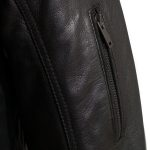 Mens Mac black leather jacket sleeve zip