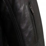 Mens Mac black leather jacket sleeve zip
