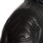 Mens black leather jacket Mac shoulder detail