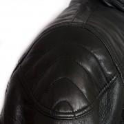Mens black leather jacket Mac shoulder detail