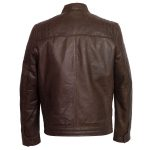 Mens brown leather jacket budd back image