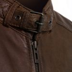 Mens brown leather jacket budd collar detail