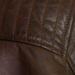 Mens brown leather jacket shoulder detail budd