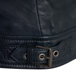 Viki navy leather jacket buckle detail