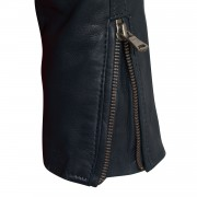Viki navy leather jacket zip cuff detail
