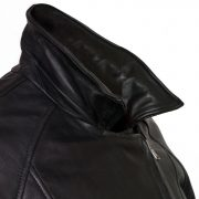 womens black leather biker jacket viki collar up detail