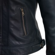 Womens Viki navy leather jacket detail