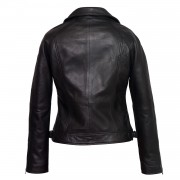 Womens black leather biker jacket Vera