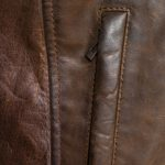 budd browb leather jacket zip detail