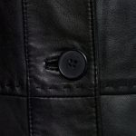 LAdies BLack leather coat button detail Maggie