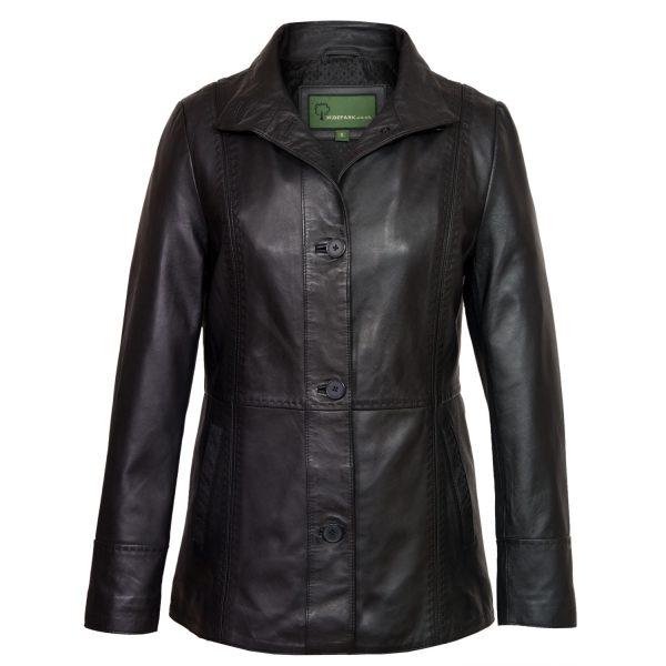 Ladies Black Leather coat Maggie