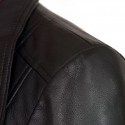 Ladies Black leather biker jacket Cayla shoulder detail