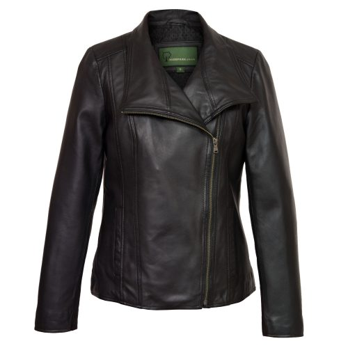 Ladies Black leather jacket Cayla Front
