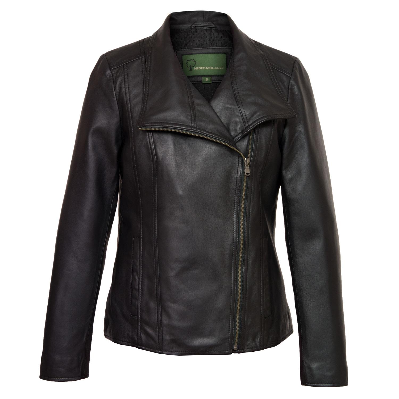 Ladies Black leather jacket Cayla Front