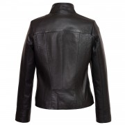 Ladies Black leather jacket May back image