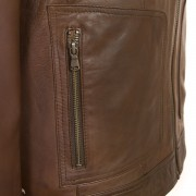 Ladies Brown Leather hooded jacket Heidi pocket detail