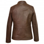 Ladies Brown Leather hooded jacket back image Heidi