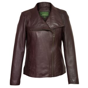 Ladies Burgundy leather biker jacket Cayla