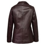 Ladies Burgundy lleather jacket Maggie back image
