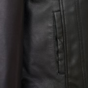 Ladies Cayla black leather coat pocket detail