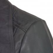 Ladies Cayla grey leather biker jacket shoulder detail