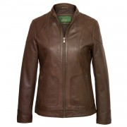 Ladies Heidi leather jacket Brown without hood