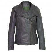 Women's Grey Leather Biker Jacket: Cayla