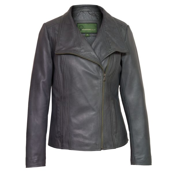 Ladies Leather biker jacket Grey cayla