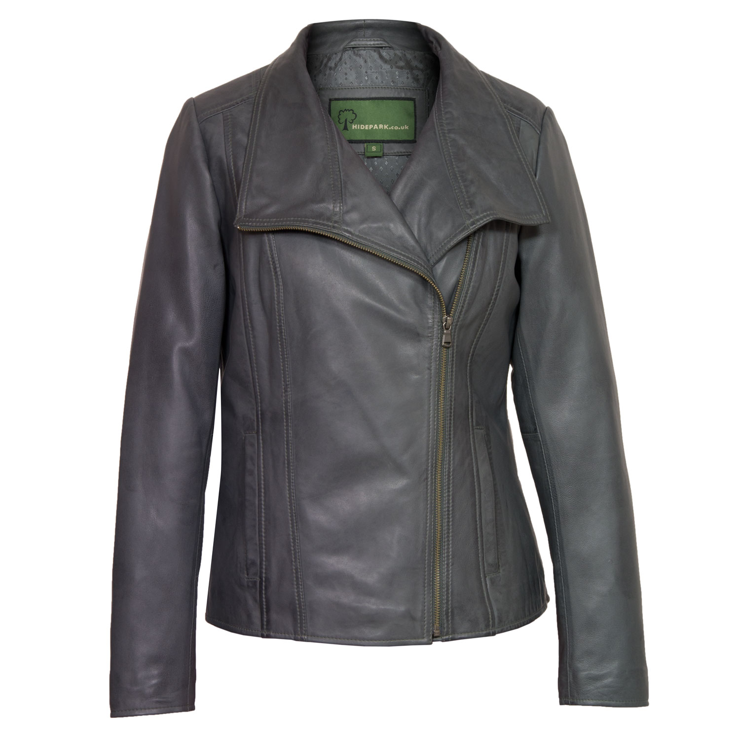 Women's Grey Leather Biker Jacket: Cayla