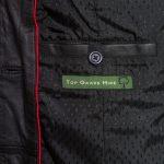 Ladies Maggie Black leather coat inside pocket detail