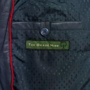 Ladies May Navy leather jacket inside pocket