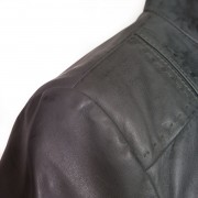 Ladies May grey leather jacket shoulder stitch detail