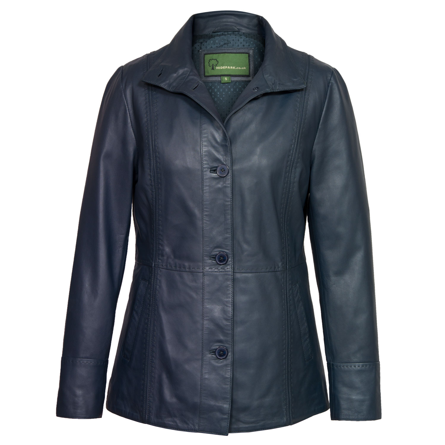 Ladies Navy Leather jacket Maggie