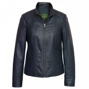 Women's Navy Leather Jacket: May
