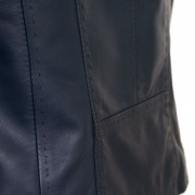 Ladies Navy leather jacket May stitch detailing