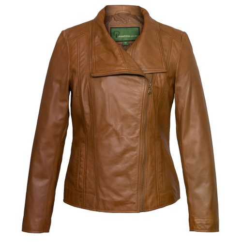 ladies tan leather jacket cayla