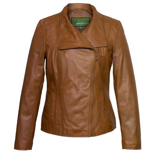 ladies tan leather jacket cayla