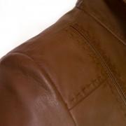 Ladies Tan leather jacket May shoulder detail
