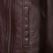 Ladies burgundy biker jacket zip detail Cayla