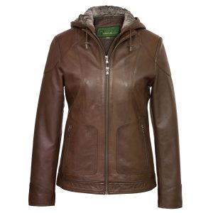 Ladies hooded leather jacket Heidi