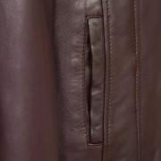 Ladies leather jacket burgundy cayla pocket detail