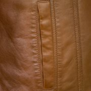 ladies leather tan jacket cayla pocket detail