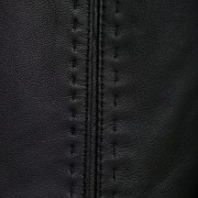 Maggie Black leather coat stab stitch detail