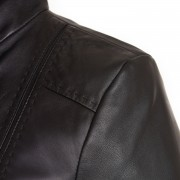 May black leather jacket shoulder detail
