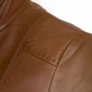 May tan womens leather jacket shoulder detail