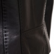 May womens black leather jacket stitch detailing