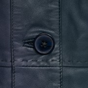 Navy leather jacket maggie button detail