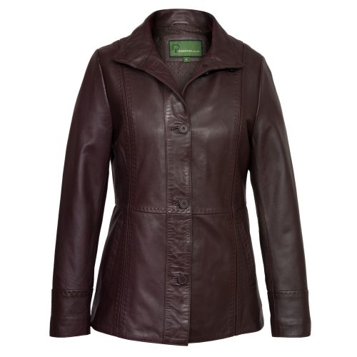 Women's Burgundy Leather Jacket: Maggie