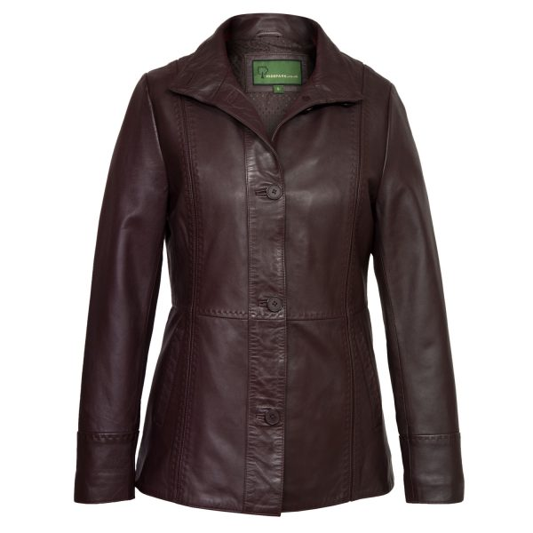 Womens Brugundy leather jacket maggie