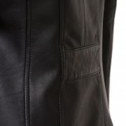 Womens Cayla black leather coat back detail